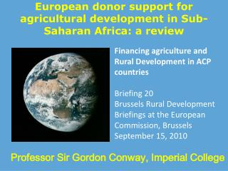 European donor support for agricultural development in Sub-Saharan Africa: a review