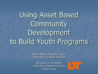 Using Asset Based Community Development to Build Youth Programs