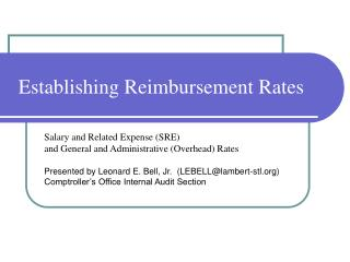 Establishing Reimbursement Rates