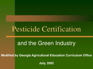 Pesticide Certification