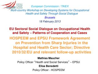 EU Sectoral Social Dialogue on Occupational Health and Safety – Patterns of Cooperation and Cases