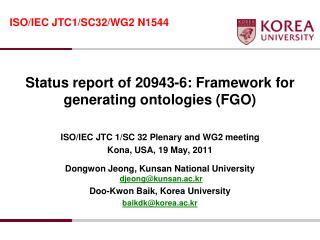 Status report of 20943-6: Framework for generating ontologies (FGO)