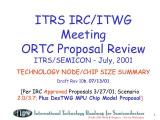 [Per IRC  Approved  Proposals 3/27/01, Scenario  2.0/3.7;  Plus DesTWG MPU Chip Model Proposal ]