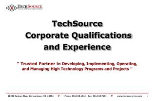 TechSource  Corporate Qualifications and Experience