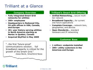 Trilliant at a Glance