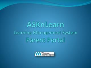 ASKnLearn Learning Management System Parent Portal