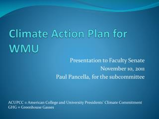 Climate Action Plan for WMU