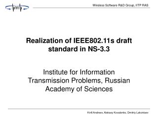 Realization of IEEE802.11s draft standard in NS-3.3