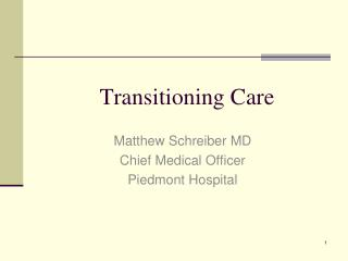 Transitioning Care