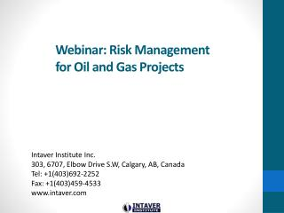 Webinar:  Risk Management for Oil and Gas Projects