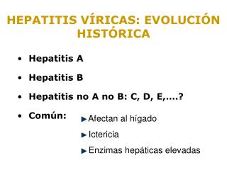 Hepatitis A Hepatitis B Hepatitis no A no B: C, D, E,….? Común: