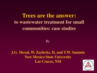 Trees are the answer: to wastewater treatment for small communities: case studies