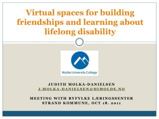 Virtual spaces for building friendships and learning about lifelong disability
