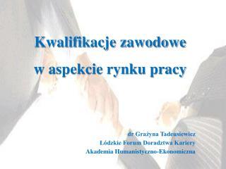 dr Grażyna Tadeusiewicz Łódzkie Forum Doradztwa Kariery Akademia Humanistyczno-Ekonomiczna
