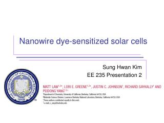 Nanowire dye-sensitized solar cells