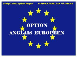 OPTION     ANGLAIS  EUROPEEN