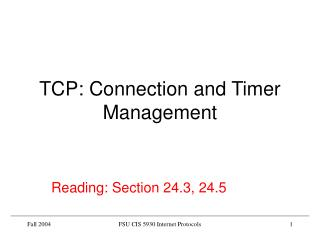 TCP: Connection and Timer Management