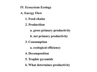 IV. Ecosystem Ecology A. Energy Flow 	1. Food chains 	2. Productiion