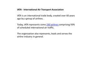 IATA  - International Air Transport Association