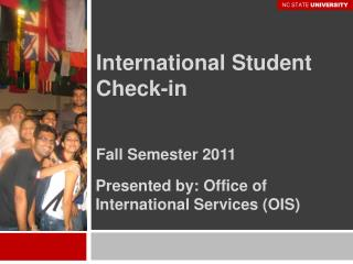 International Student Check-in