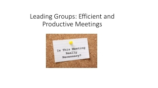 Running Efficient Meetings