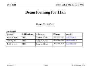 Beam forming for 11ah