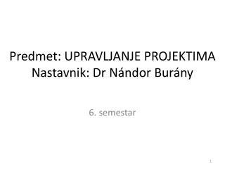 Predmet:  UPRAVLJANJE PROJEKTIMA Nastavnik: Dr Nándor Burány