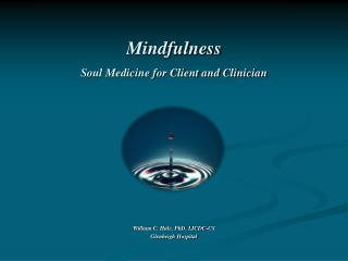 Mindfulness  Soul Medicine for Client and Clinician