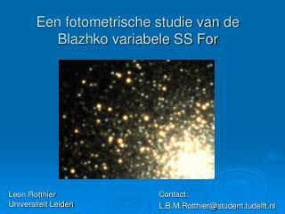 Een fotometrische studie van de Blazhko variabele SS For
