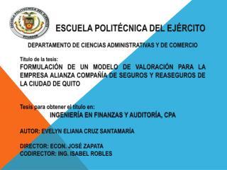 ESCUELA POLITÉCNICA DEL EJÉRCITO DEPARTAMENTO DE CIENCIAS ADMINISTRATIVAS Y DE COMERCIO