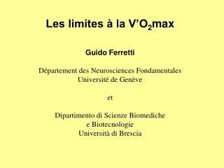 Les limites à la V'O 2 max
