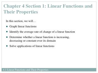 Chapter 4 Section 1: Linear Functions and Their Properties