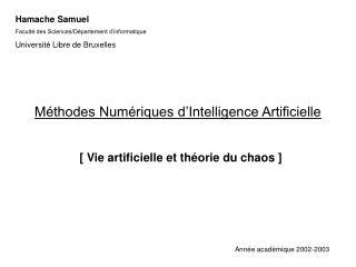 Méthodes Numériques d'Intelligence Artificielle