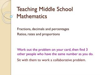 Teaching Middle School Mathematics