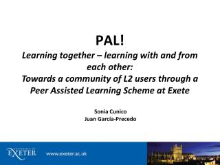 PAL! Learning together – learning  with and from  each  other: