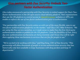 Gluu partners with Duo Security; Embeds Two-Factor Authentic