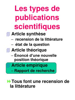Les types de publications scientifiques