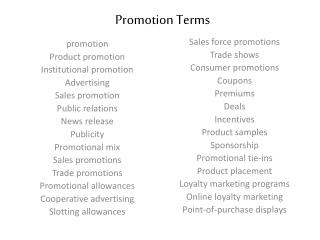 Promotion Terms