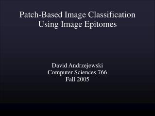 Patch-Based Image Classification Using Image Epitomes
