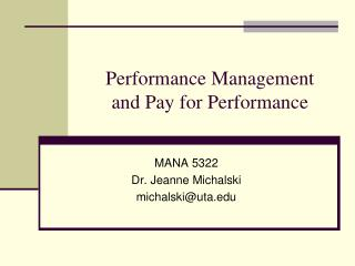Performance Management  and Pay for Performance