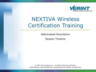 NEXTIVA Wireless Certification Training