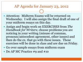 AP Agenda for January 23, 2012