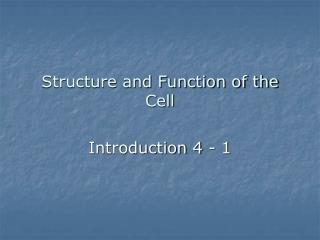 Structure and Function of the Cell