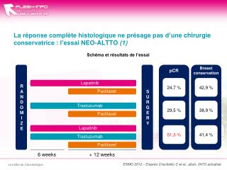 ESMO 2012 – D'après  Criscitiello  C et al.,  abstr . 247O actualisé