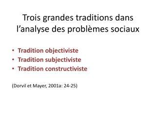 Trois grandes traditions dans l'analyse des problèmes sociaux