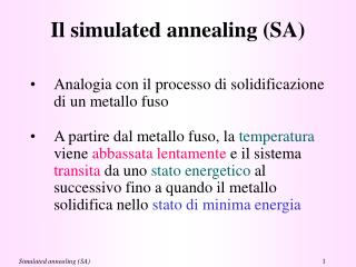 Il simulated annealing (SA)