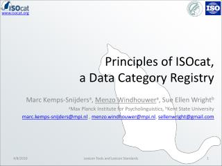Principles of  ISOcat , a Data Category Registry
