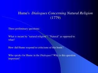 Hume's   Dialogues Concerning Natural Religion  (1779)