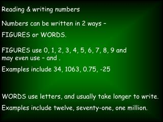 Reading  writing numbers