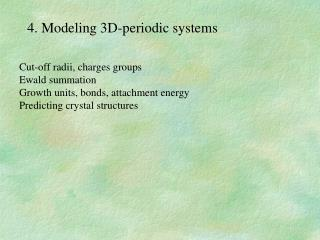 4. Modeling 3D-periodic systems